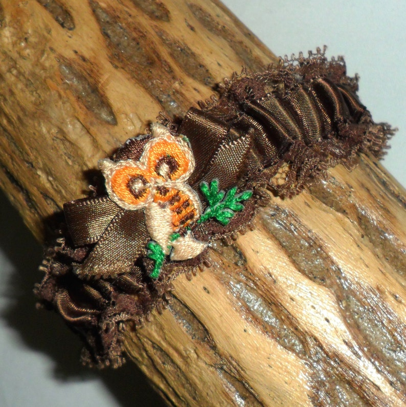 Vintage Brown Satin and Ruffled Lace Elasticated Garter with image 0