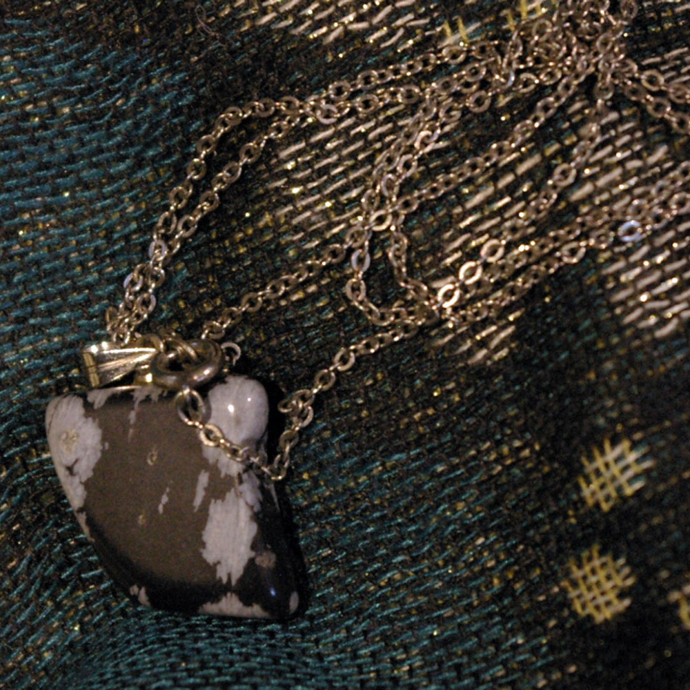 Vintage Grey and Black Stone on Silver Tone Chain Necklace image 0