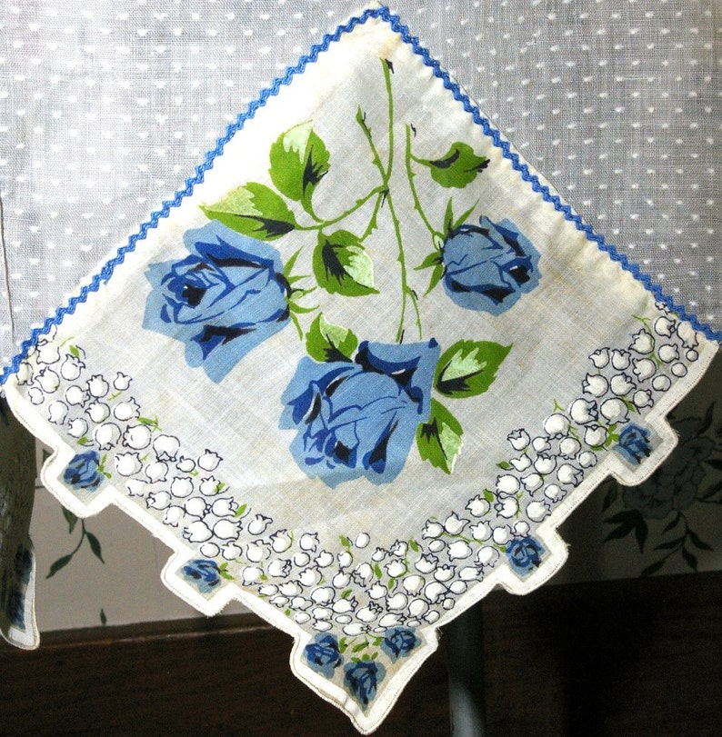 Vintage White Polka Dots and Blue Roses Sheer Organdy Hanky image 0