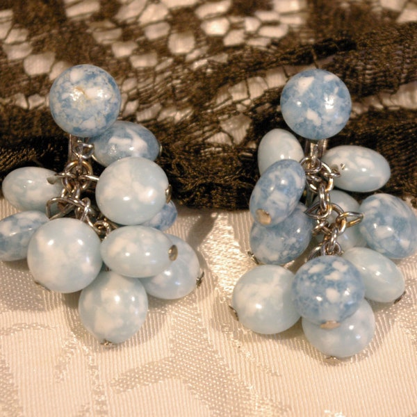 Vintage 1950s Cloudy Blue Bead Stone Dangle Chain Clip On image 1