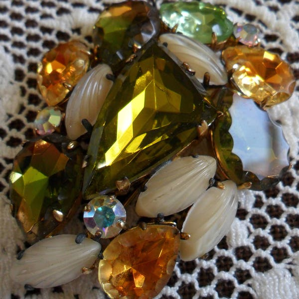 Large Vintage Colorful Multi-Faceted Cut Glass Crystal & image 1