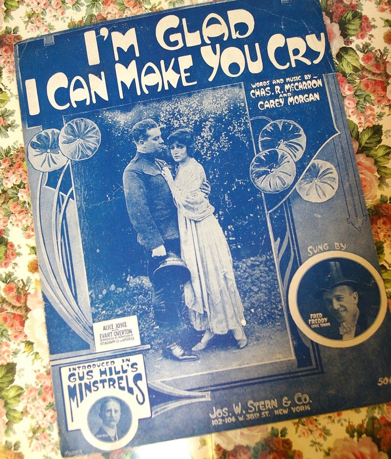 Vintage 1918 Sheet Music I'm Glad I Can Make You Cry 1910s image 0