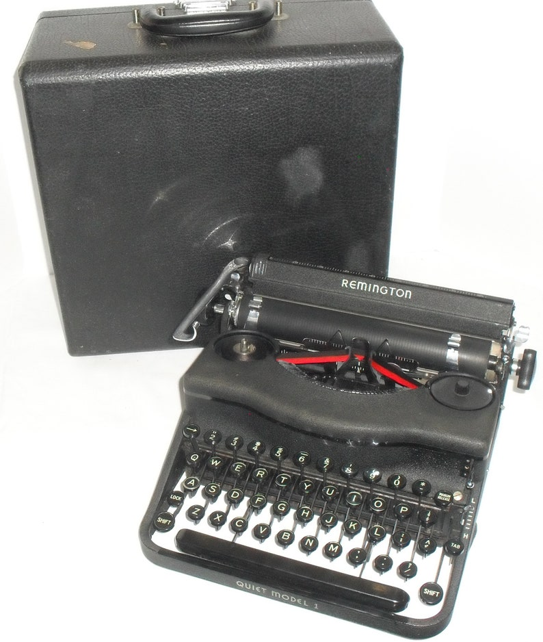 Vintage 1940s Remington Rand Quiet Model 1 Portable Manual Typewriter  Repaired & Serviced with new Ribbon!