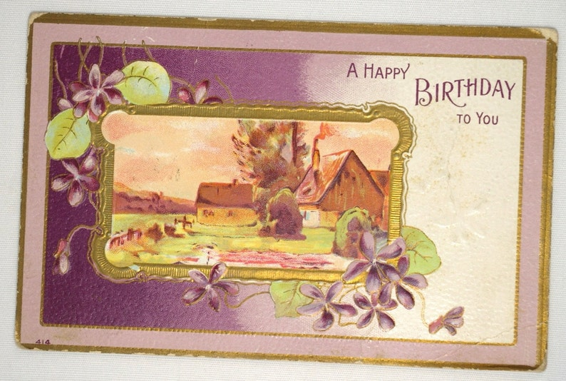 Antique Embossed Birthday Greetings Postcard Farm Scene Gold image 0
