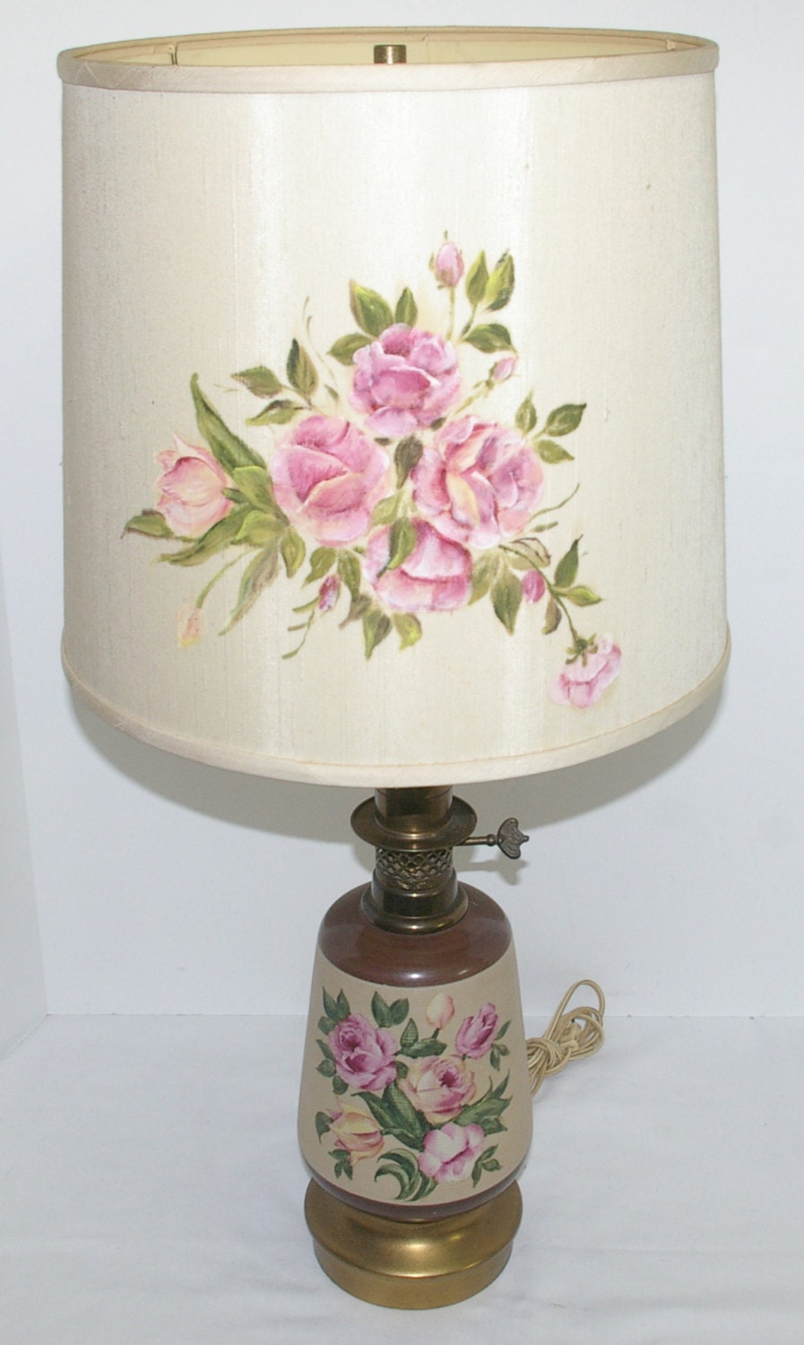 Vintage 1960s Table Lamp Pink Roses Brass Ceramic Hand Painted Etsy