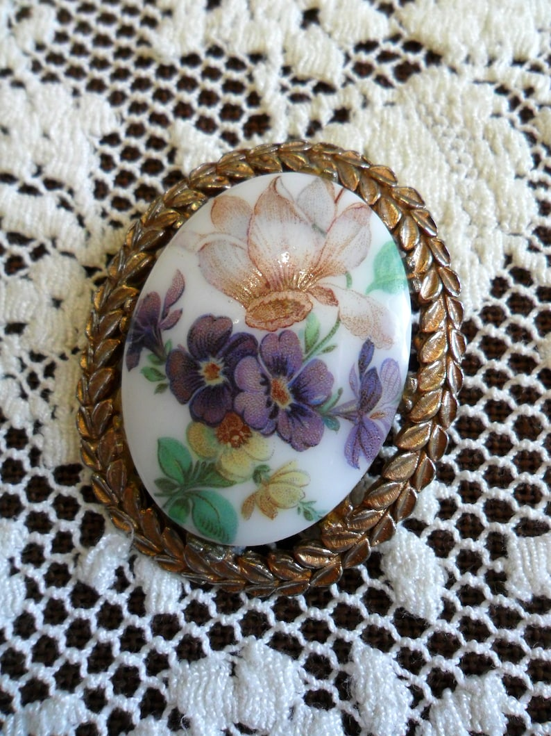 Large Vintage Colorful Flowers on White Milk Glass Pin Brooch image 0