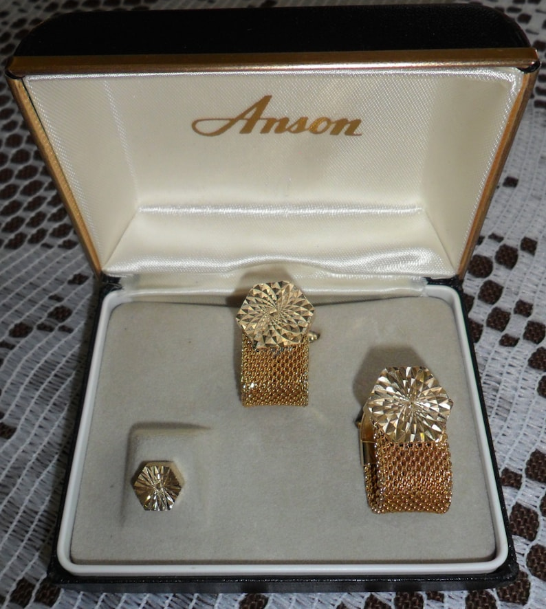 Vintage Signed Anson Mens Shirt Cuff Links Cufflinks and Tie image 0