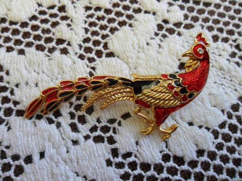 Stunning Vintage Peacock Bird Pin Brooch Red and Black Enamel image 0