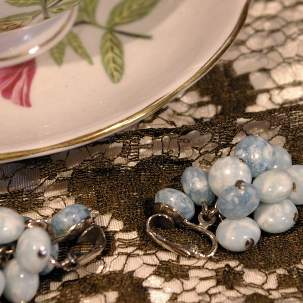 Vintage 1950s Cloudy Blue Bead Stone Dangle Chain Clip On image 3