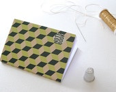 Notebook Collection #3 Green & Pink . Binding Hand with golden thread . Two Sizes . White Page