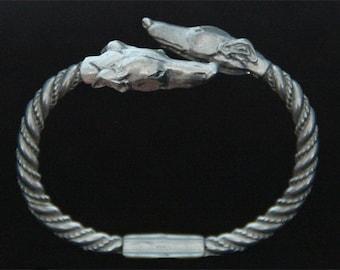 Greyhound Bracelet - Whippet Bangle - Running Sighthound Bangle - Galgo Jewelry - Pewter