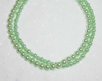 Mint Green Necklace - Light Green Necklace - Statement Necklace - Double Strand - Green Necklace