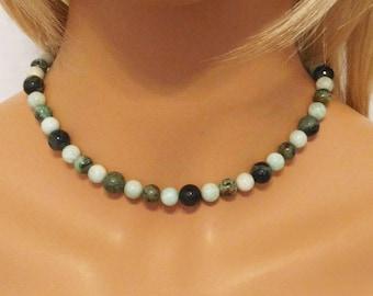 Amazonite Necklace - Kambaba Jasper - African Turquoise - Unique Necklace - Mixed Stone - Necklace - AGstudio - OOAK Original