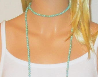 "Turquoise Necklace, Long Turquoise Necklace, Single Double Strand Necklace, Necklace in PHOTO is 50"" Long"