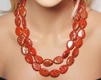 Rust Necklace, Lightweight Acrylic, Double Strand, Fall Jewelry, Orange Brown, Multicolored Necklace