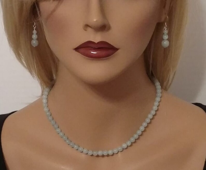 3 tier earrings Aquamarine earrings Aquamarine graduated bead earrings dangle earrings Genuine Aquamarine