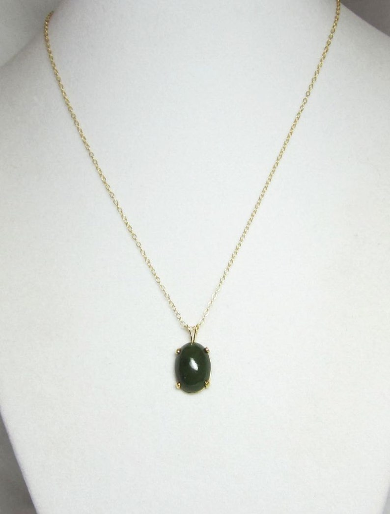 978487ef760 Natural Nephrite Jade Pendant Necklace 14x10mm Set In 14Kt Gold Filled or  Sterling Silver