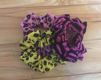 Animal print Scrunchies, ponytail holder, hair ties, hair accessories, bun wrap, hair elastic, three scrunchies ready to ship