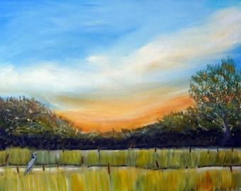 "Wetlands Sunrise with Heron Original Oil Painting 16 x 20"""