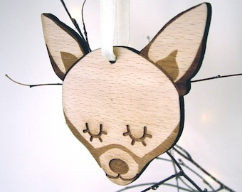 Chihuahua Wooden Christmas Decoration - Wooden Chihuahua Christmas Decoration - Chihuahua Xmas Decoration - Wooden Chihuahua Decoration