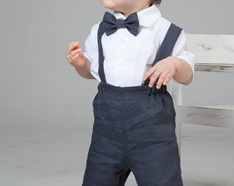 Baby boy gray linen suit Toddler boy gray shorts with suspenders white shirt Boy shorts with braces bow tie