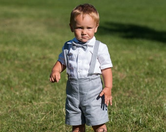 43c60aa9a Boy shorts with suspenders Ring bearer outfit Baby boy linen suit First  birthay clothes Baptism overalls Diaper cover set Rompers light Gray