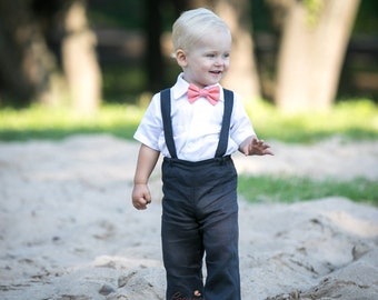 c0d1a19d0 Baby boy navy blue suit Boy suspenders suit Ring bearer linen