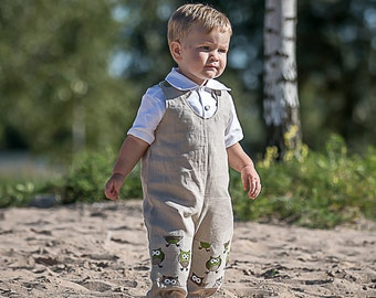 Baby linen rompers baby overalls crawling rompers baby boy dungarees baby girl overalls baby natural clothes owl design linen rompers