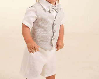 b0c92adcf Baby boy linen suit ring bearer outfit baptism natural clothes boy first  birthday rustic wedding beach white light gray formal SET of 4