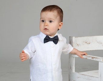 Baby boy linen shirt bow tie Ring bearer white shirt Baby boy wedding shirt Baptism shirt Rustic wedding boy shirt many colors bow tie