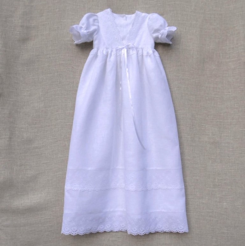 abf54eb2a2 Baptism linen dress Baby girl special occasion Christening