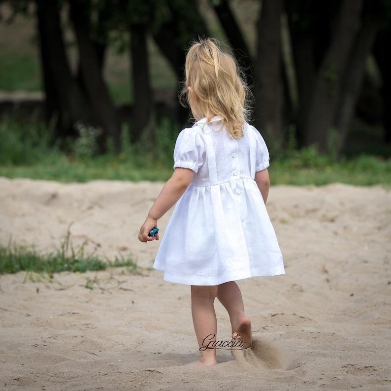 Baby girl white dress Baptism dress Christening dress Girl linen dress Flower girl dress Baby girl dress for wedding Photo prop baby girl