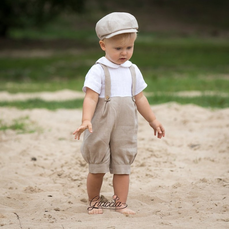 17d6bc37a Baby boy linen romper Baptism romper Ring bearer outfits Baby boy formal  romper Boy suspenders outfits Beige romper newsboy hat