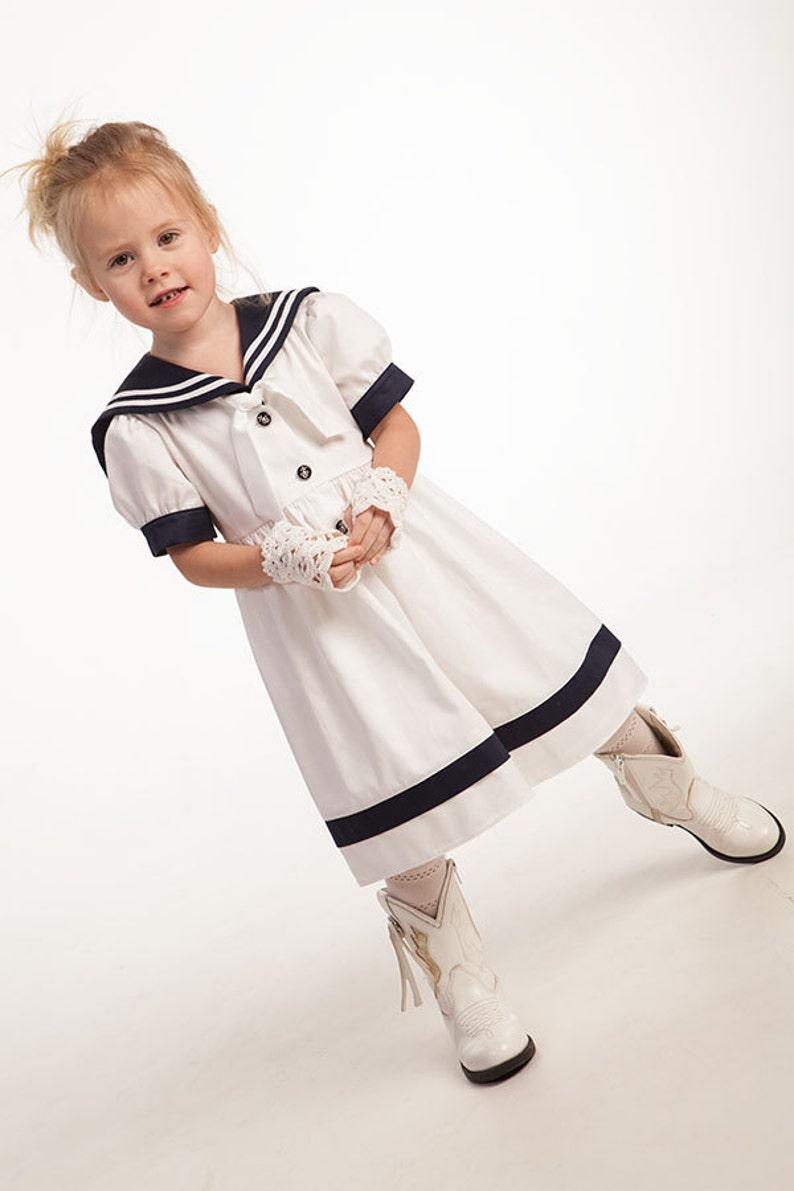8e258473e79 Robe de marin fille bébé fille marin robe lin plage mariage