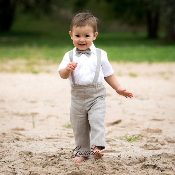 Baby Boy Suspenders Outfits Boy Linen Suit 1st Birthday