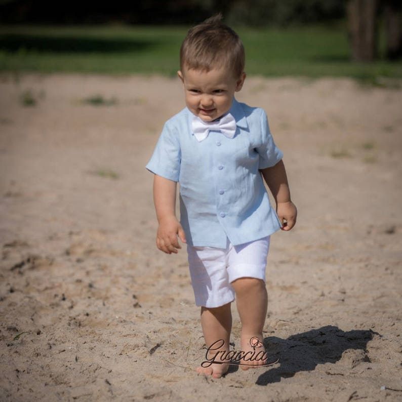 Baby boy shirt shorts bow tie Baptism outfit Ring bearer outfit Boy linen suit Boy 1st birthday suit Christening outfit Baby blue white suit