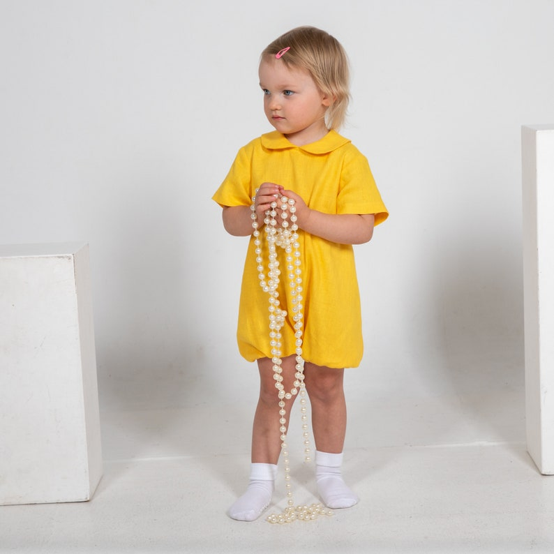 Baby yellow romper Infant linen jumpsuit Overalls for baby girl cake smash outfit toddler easter clothes baby boy summer suit twin romper