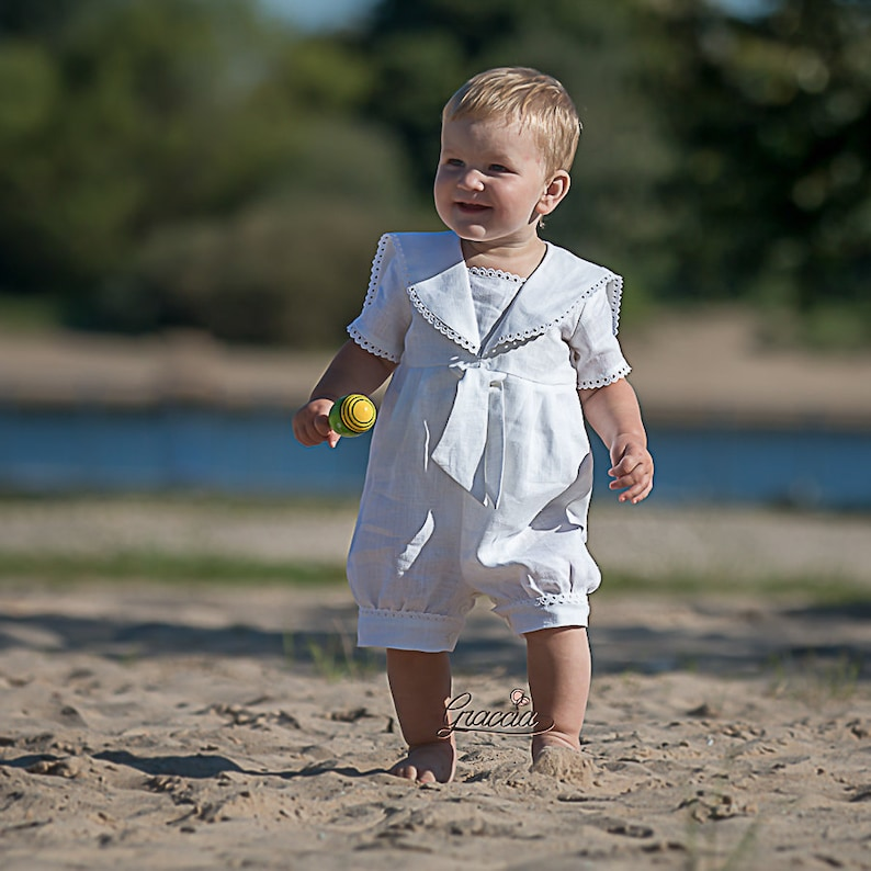 Baptism white outfit Baby boy sailor rompers Linen overalls  a5a6282f9500