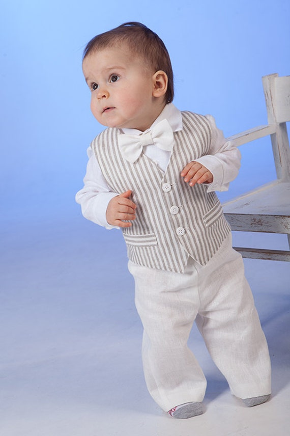 cd8cae3bd Baby boy linen suit Ring bearer outfits Baptism formal outfits