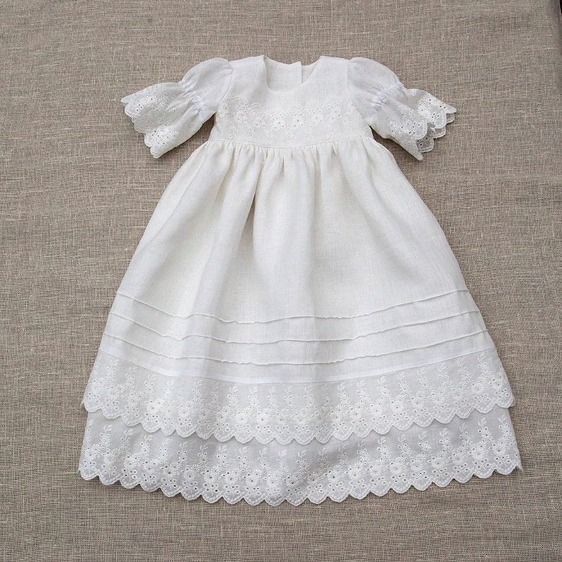 fbec684dd95 Baby girl white dress Baptism dress Linen dress Christening