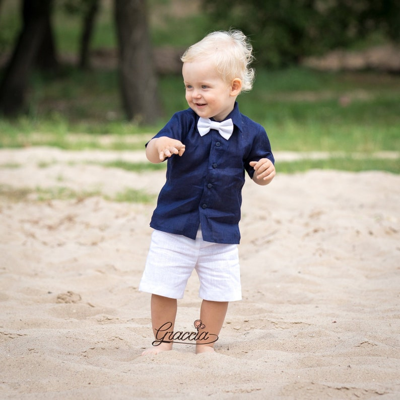 1ce8890a5 Baby boy navy blue shirt white shorts bow tie Ring bearer   Etsy