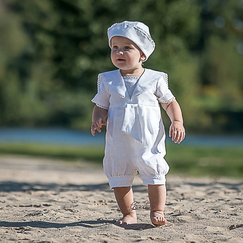 Baptism outfit Baby boy sailor rompers Baby boy linen overalls  921d81736438