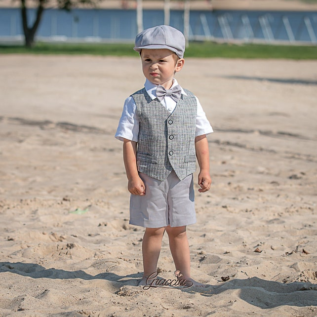 b508092d8 Ring bearer outfit Baby boy linen suit Rustic wedding boy formal ...