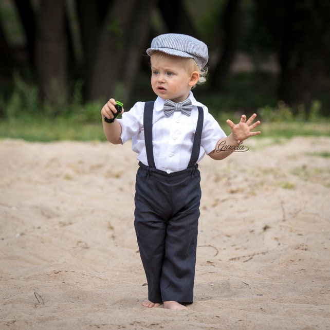 e81439c84 Boys Navy Suspenders Peach Bow Tie