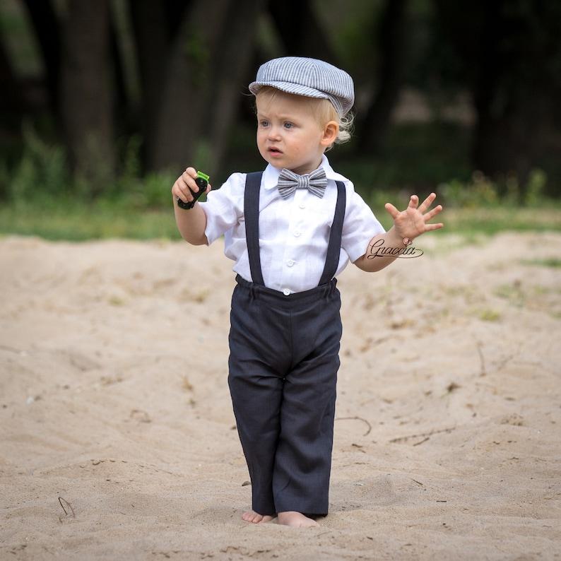 7df4cc90b6257 Baby boy wedding suit Ring bearer newsboy outfit Baby boy linen suit Pants  Suspe... Baby boy wedding suit Ring bearer newsboy outfit Baby boy linen  suit ...