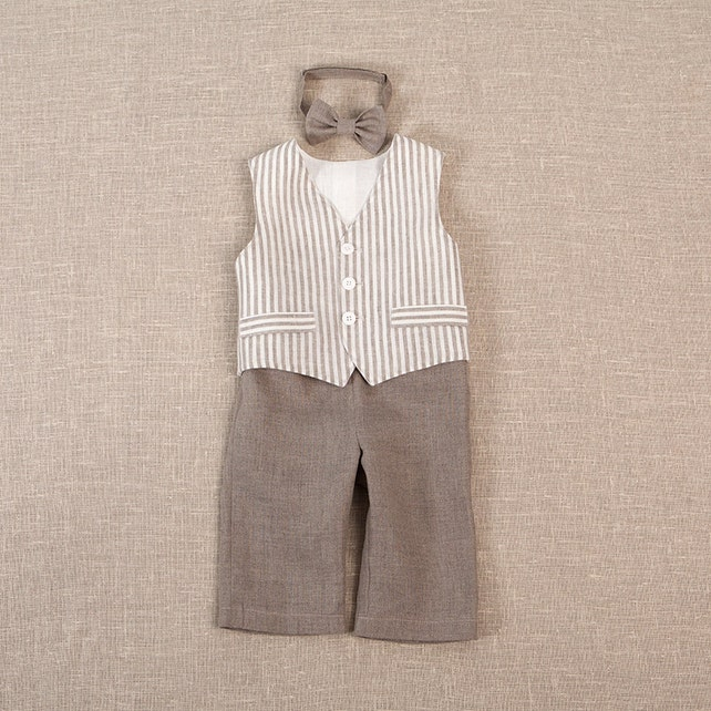 ad46c8bbae Baby boy ring bearer outfit boy baptism linen suit first birthday natural clothes  rustic wedding beach