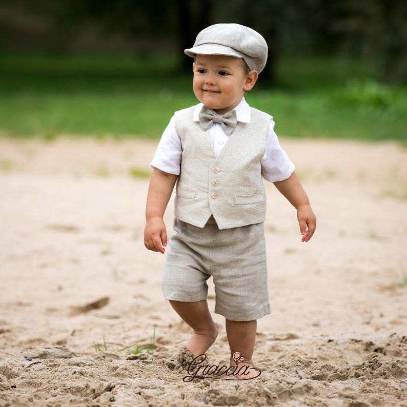 9172b8fee Baby boy linen suit Ring bearer newsboy outfit Boy baptism outfit Rustic  wedding boy suit Baby boy natural color vest shorts newsboy hat