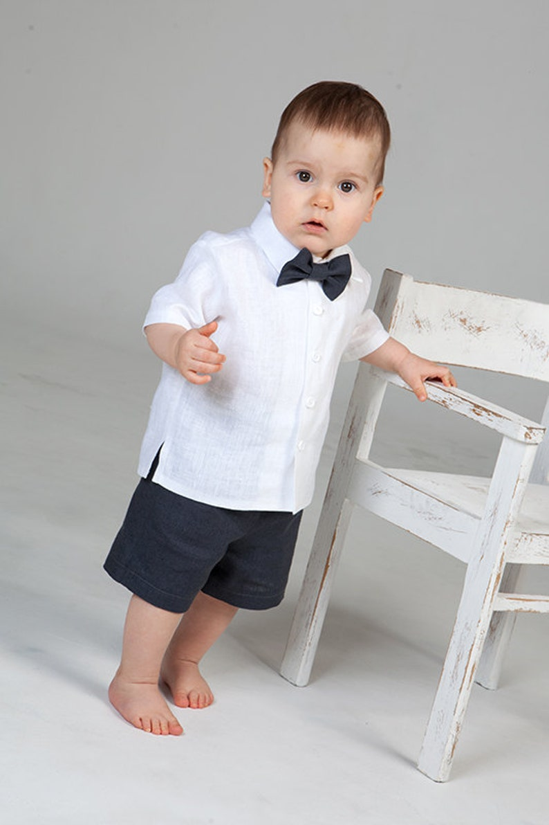 Baby boy linen suit Gray shorts White shirt Ring bearer outfit image 0