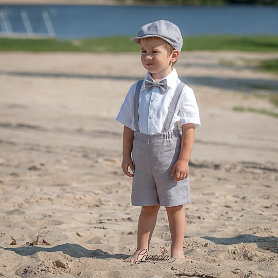 Ring bearer newsboy outfits Baby boy light gray suit Wedding   Etsy