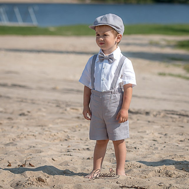 9b5c86a6a Ring bearer newsboy outfits Baby boy light gray suit Wedding baby boy linen  suit Shorts Suspenders ...